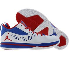 Jordan CP3 Playoff Home shoes in white, red and blue