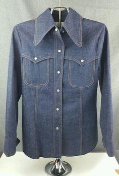 Ladies Medium Vintage Cowgirl Denim Button Down Long Sleeve Shirt #unknown #JeanJacket