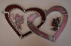 """Stained glass suncatcher """"Two butterflies in two hearts"""" home decor on Etsy, $40.00"""