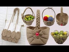 5 Jute crafts basket - bags | Diy bags from jute rope - YouTube Basket Bag, Rope Basket, Basket Weaving, Jute Crafts, Diy Arts And Crafts, Sisal, Pink Basketball, Craft Projects For Adults, Craft Ideas