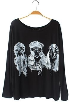 Three Monkeys Graphic Long Sleeve Tee OASAP.com  Obsessed with this shirt want!!