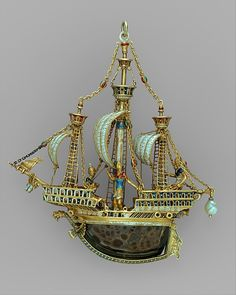 Maker: Alfred André (French, 1839–1919) Date: probably late 19th century Culture: French, Paris Medium: Gold, partly enameled and set with gems; baroque pearl; rock crystal Dimensions: 4 3/8 × 3 3/4 in. (11.1 × 9.5 cm) Classification: Metalwork-Gold and Platinum