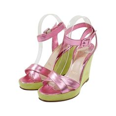 Christian Louboutin Metallic Pink Leather and Lime Green Suede Wedges | From a collection of rare vintage shoes at https://www.1stdibs.com/fashion/accessories/shoes/