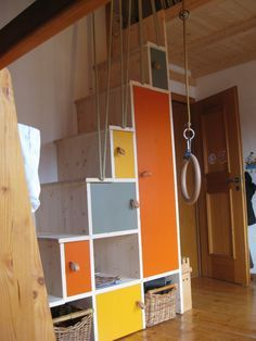 build a storage loft in garage with stairs and slide - Google Search