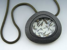 Modern abstract polymer clay pendant necklace by StonehouseStudio, $80.00