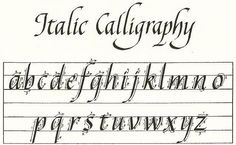 Italic Alphabet Calligraphy. practice with a calligraphy felt marker.