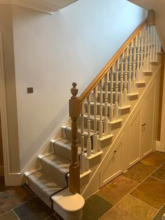 Two cut string staircases consisting of Grecian posts and spindles. Pear Stairs supplied a smaller balustrade on the landing featuring diminishing spindles. Glass Stairs, Metal Stairs, Painted Stairs, Wooden Stairs, Bespoke Staircases, Wooden Staircases, Curved Staircase, Staircase Design, Stair Supplies