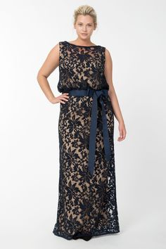 Embroidered Lace Blouson Gown in Navy / Nude | Tadashi Shoji Fall / Holiday Plus Size Collection
