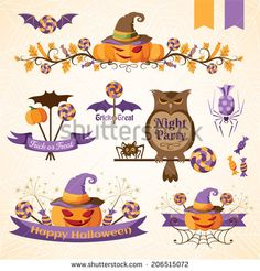 Set of halloween decorative elements, ribbons and banners. Color version - stock vector
