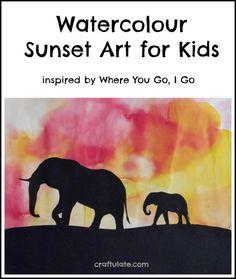 Watercolour Sunset Art for Kids