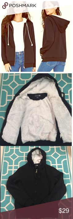 Forever 21 Black Zippered Plush Hoodie Gently used black zippered hoodie with long sleeves, a split kangaroo pocket, and an extremely soft plush interior lining. Good condition. Runs small.  Shell: 65% Polyester, 35% Cotton; Lining: 100% Polyester Forever 21 Tops Sweatshirts & Hoodies