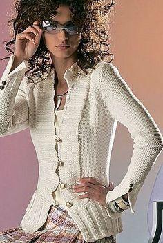 Вязание - Каталожные модели Белый жакетик с резинкой