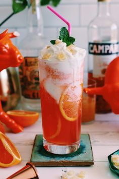This Mango Campari Float will make all Spring + Summer cocktails obsolete! This Mango Campari Float will make all Spring + Summer cocktails obsolete! Mezcal Cocktails, Campari Drinks, Mango, Ice Cream Floats, Vanilla Bean Ice Cream, Cheesy Recipes, Liqueur, Yummy Drinks, Refreshing Drinks