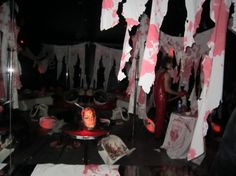 Decoration Scary Halloween Filming Equipment Presenting White Bloody Paper, White Cover Table Bloods Plus Head Doll Blood Women. Combined Wi...