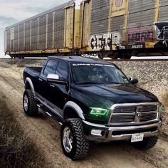 Dodge Ram with green LED Headlights