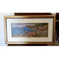 Dipinto olio su tavola - Antignano Spiaggia - Boldrini - 1977
