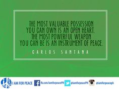 Mayad nga aga! (Good Morning!) Enjoy the weekend everyone!   Here's a peace quote to start your weekend right!  #iamforpeace #peace #instrument #openheart #carlossantana