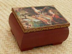 Rokoko Schmuckkästchen aus Massivholz antik von Schmucktruhe