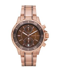 Y0RDU Michael Kors Two-Tone Chronograph Watch, Golden