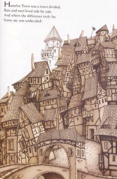 "Drahos Zak illustration for ""The Pied Piper of Hamelin""."