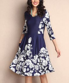Navy Floral Fit & Flare Pocket Dress by Reborn Collection #zulily #zulilyfinds