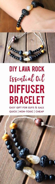 Learn how to make an easy essential oil diffuser bracelet using inexpensive non-toxic materials like citrine stone, porous lava rock, and hemp cord. Decorate the bracelet with your favorite accent beads to make it look unique while you enjoy the aromatherapy benefits. This makes a great DIY gift for both gals and guys and is a simple enough craft project for kids to help out. #holidaygifts #EssentialOils #diycrafts #diyjewelry #nontoxic #christmasgifts