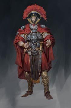 roman warrior by Konstantin Porubov. Fantasy Character Design, Character Design Inspiration, Character Concept, Character Art, Concept Art, D D Characters, Fantasy Characters, Roman Armor, Medieval