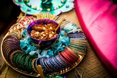 Naureen & Ghazaly's Super Colorful Mayoon & Mehndi Ceremonies- Part II. Gift Ideas For Wedding Guests In Indian Desi Wedding Decor, Indian Wedding Decorations, Wedding Party Favors, Wedding Ideas, Stage Decorations, Table Wedding, Wedding Stage, Indian Wedding Gifts, Bengali Wedding