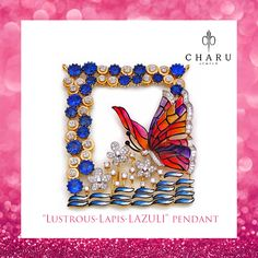 This many-hued pendant with coruscating diamond flowers and bewitching butterfly design portrays the alluring nature. This unique pendant breaks the monotony of chaste floral designs, it encounters another part of nature, the bonny butterfly. As a portrayal of beauty and several shades in her, this pendant cherishes the beauty of every living soul. #ColourYourSenses #CharmingCharu #jewellery #bangles #finejewellery #luxurylife #handgoals #designerjewelry… Jewellery Designs, Necklace Designs, Floral Designs, Cool Designs, Lapis Lazuli Pendant, Friend 2, Diamond Flower, Butterfly Design, Pendant Set