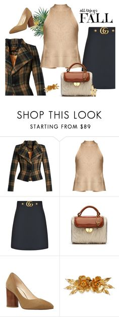 """""""autumn work wear"""" by rvazquez ❤ liked on Polyvore featuring Vivienne Westwood Anglomania, palmer//harding, Gucci, Maison Margiela, Nine West, Jennifer Behr, Movado, plaid, gucci and fur"""