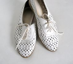 Vintage sz 55 Leather Cutout Shoes White Lace Up by MidnightFlight, $40.00