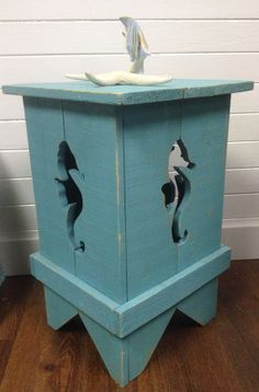 Seahorse Side Night Table Shutter Style in by CastawaysHall