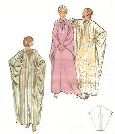 """Vintage 1970s Sewing Pattern Women's Caftan Kaftan Dress Bust 38""""-40"""" Large #Butterick"""