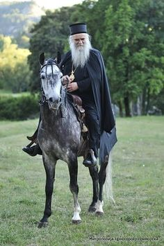 His Eminence Metropolitan of Montenegro and the Littoral , Amphilochius ~ riding a horse. Faith Of Our Fathers, Faith In God, True Faith, Orthodox Prayers, Orthodox Christianity, Illuminati, Famous Freemasons, Church Icon, Church Architecture