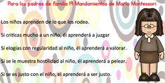 Para los padres de familia 19 Mandamientos de María Montessori