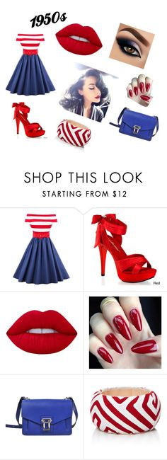 """""""1950s style"""" by jcupcake123 ❤ liked on Polyvore featuring Pleaser, Lime Crime, Proenza Schouler, Mola SaSa, red, Blue and 1950s"""