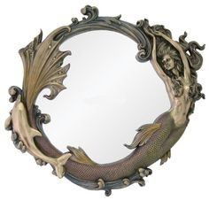 """Mermaid with Dolphin Large Nautical Mirror 24"""" Cold cast Bronze Sea Goddess New"""