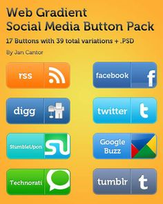 20 Sets of Free Social Media Buttons and Icons (PSD)