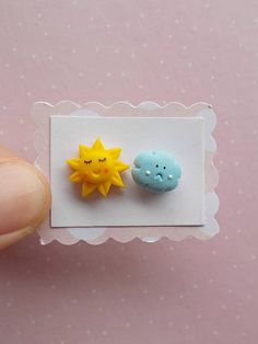 Cute sun and cloud stud earrings created from polymer clay without molds or forms. A lovely gift idea for girls. The lenght of each earring is 1.2 cm. ❀ Because i make everything by hand, the item you receive may differ slightly than shown on the pictures. ❀ Price is for one pair of