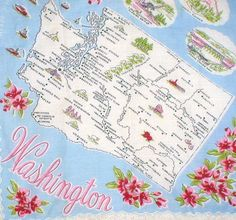 Washington state map + red coast rhododendron flowers [handkerchief / scarf]