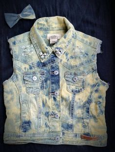 Distressed, Bleached and Studded Denim Vest W/ Matching Hair Bow- Girls- Toddler- Big Girl- Size 5/6- Custom Made- Silver Embellishments by DivineKidz on Etsy
