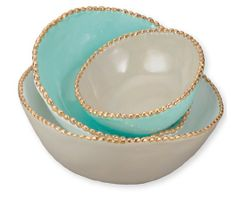 Turquoise bowls! so pretty with the gold beading.