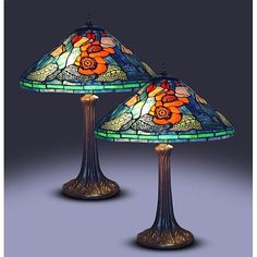The gorgeous design of these glass Tiffany style table lamps makes them the perfect addition to any home decor. Featuring an elegant multicolored stained glass lampshade, these beautiful lamps add adequate lighting and sophistication to any room.