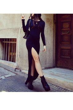 Sideslip μαύρο φόρεμα βισκόζη με σούρα   Για αγορά ονλάιν καντε κλικ πανω στην εικονα