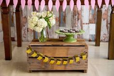 Wooden crate and blooms from a Tribal Cactus Birthday Party on Kara's Party Ideas   KarasPartyIdeas.com (5)