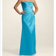 Beautiful blue Gown Extremely flattering gown in color Malibu from David's Bridal worn once for my sisters wedding David's Bridal Dresses Prom