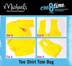 #DIY T-shirt Bag    Think i might do this with some of my Cross Country T-shirts when i outgrow them!