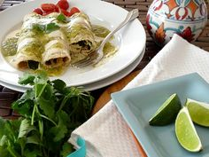 Chicken, Black Bean, and Spinach Enchiladas with Homemade Green Enchilada Sauce