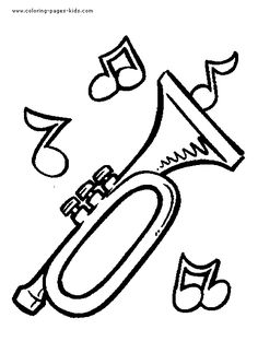 Trumpet Music color page,  coloring pages, color plate, coloring sheet,printable coloring picture