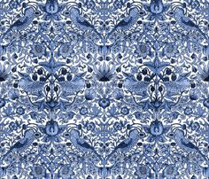 William Morris ~ Strawberry Thief ~ Blue and White fabric by peacoquettedesigns on Spoonflower - custom fabric